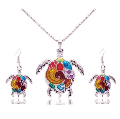 Turtle Brights Earring & Pendant Set