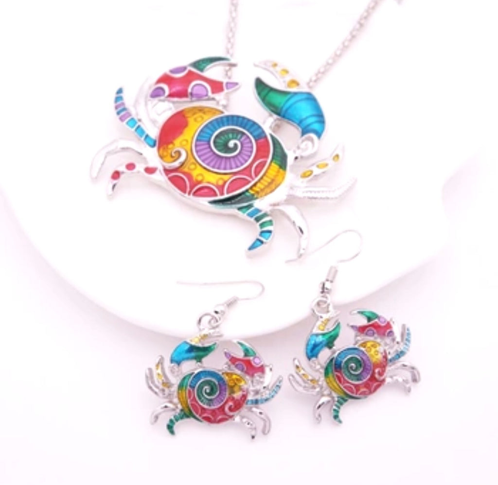 Crabby Brights Earring & Pendant Set