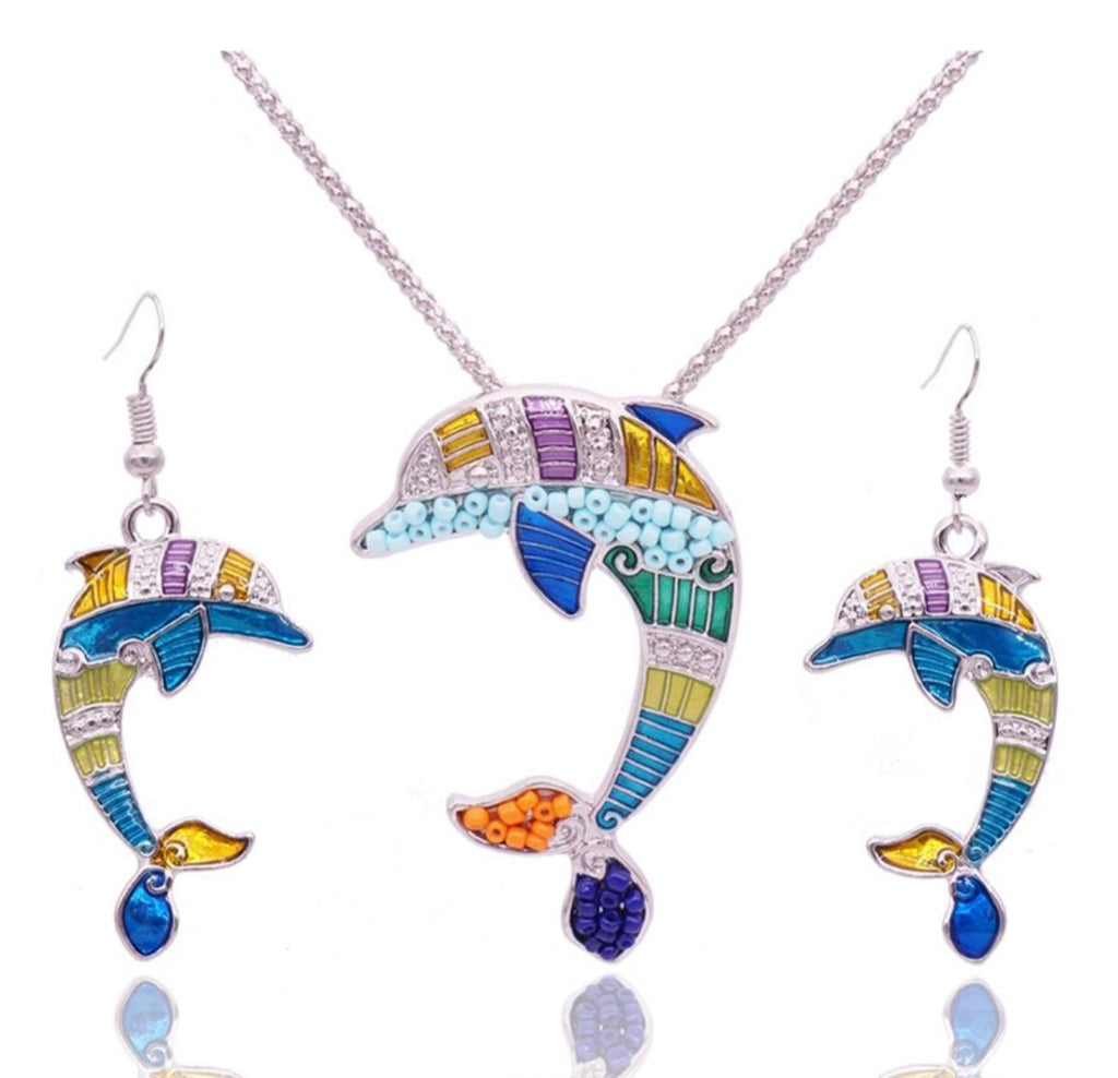 Dolphin Beaded Earring & Pendant Set