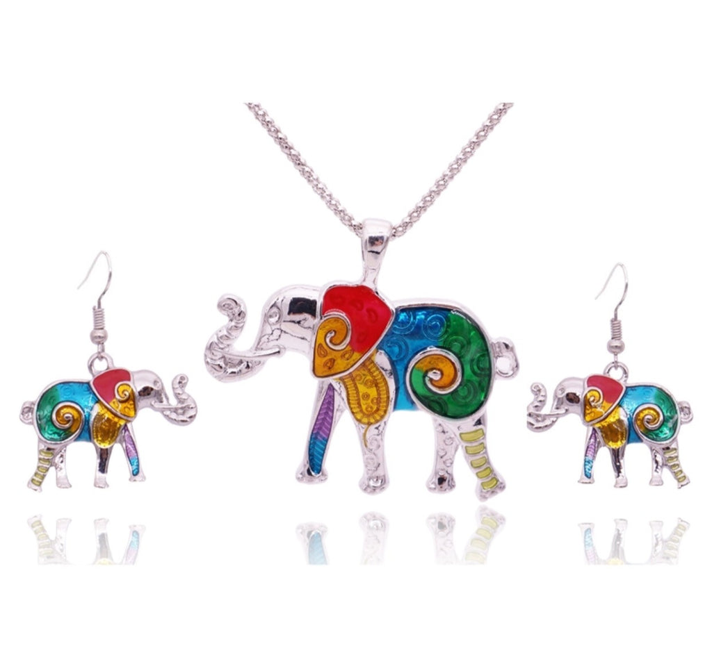 Elephant Bright Earring & Pendant Set
