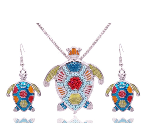 Turtle Beaded Earring & Pendant Set