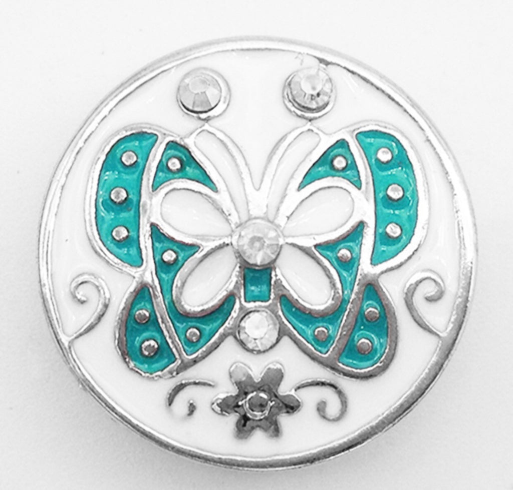 Teal Butterfly Snap Charm