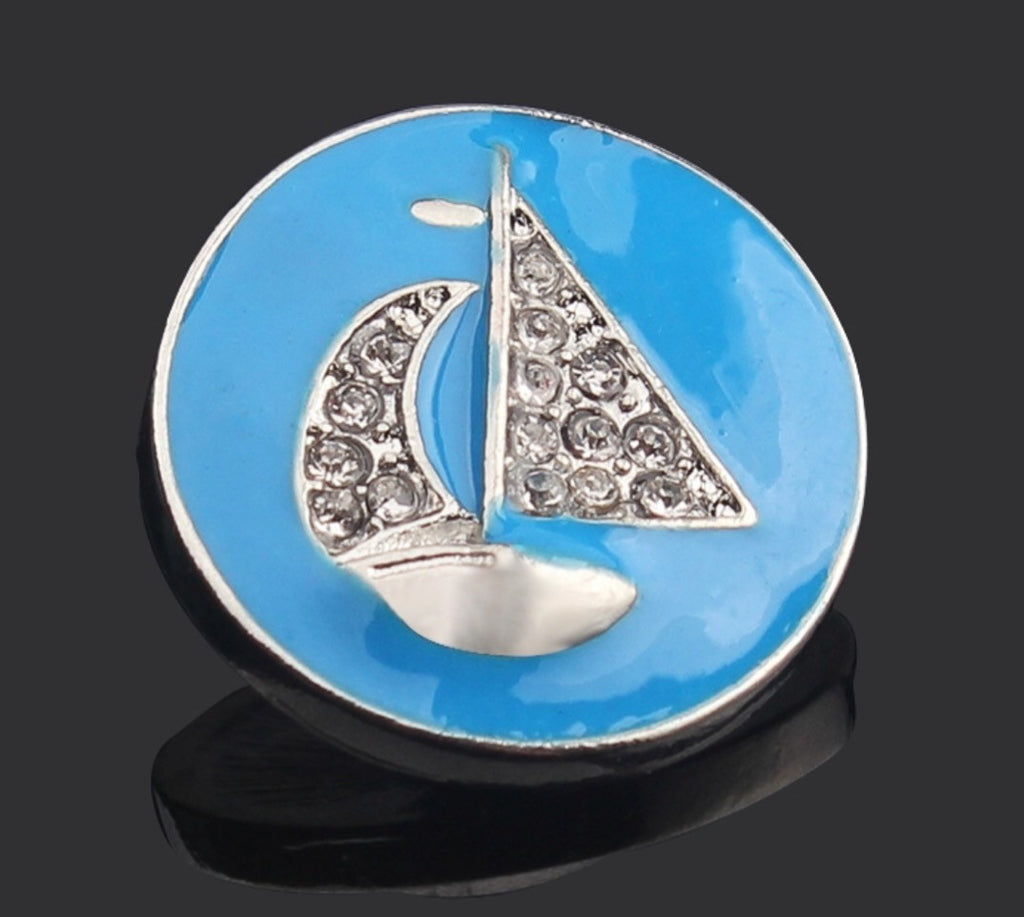 Sailboat Bling Royal Snap Charm