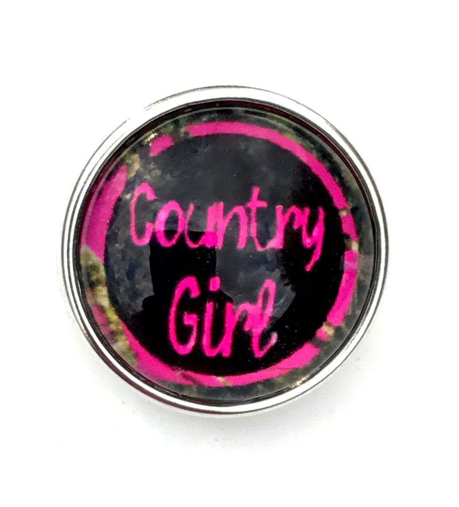 Country Girl Glass Snap Charm