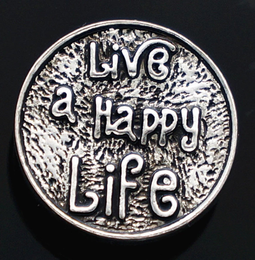 Live a Happy Life Snap Charm