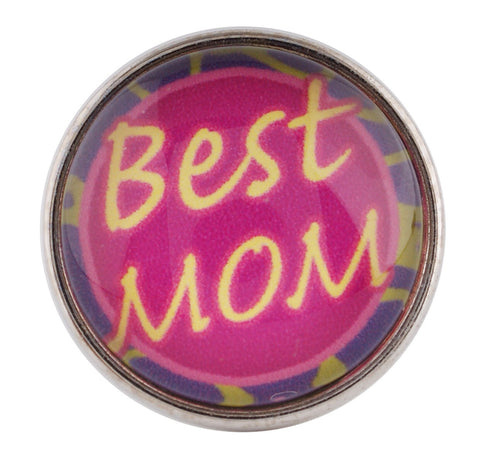 Best Mom Glass Snap Charm