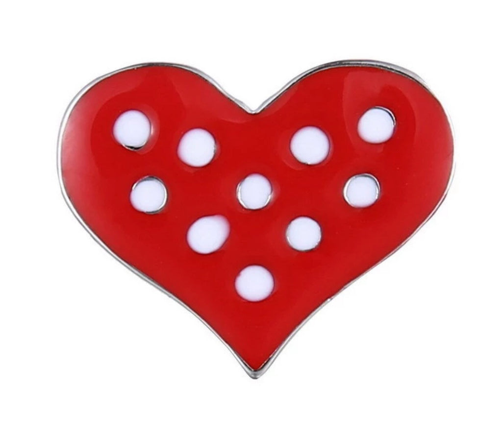 Polka Dot Heart Snap Charm
