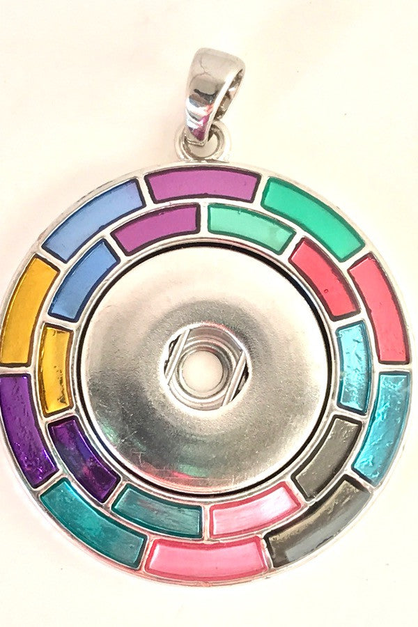 Rainbow Circle Snap Charm Pendant