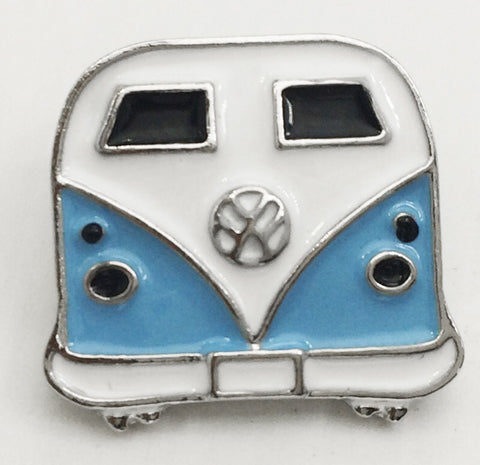 VW Bus Sunflower Blue Snap Charm