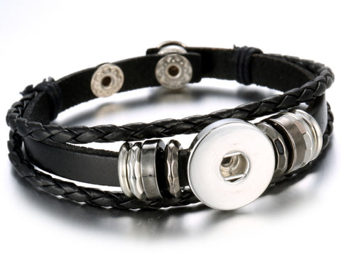 Layered Leather Wrap Snap Charm Bracelet Black