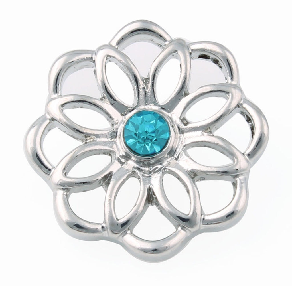 Silver Flower Cut Out Snap Charm