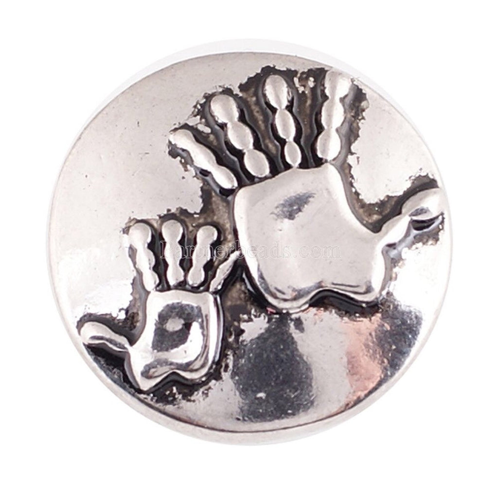 Silver Handprints Snap Charm