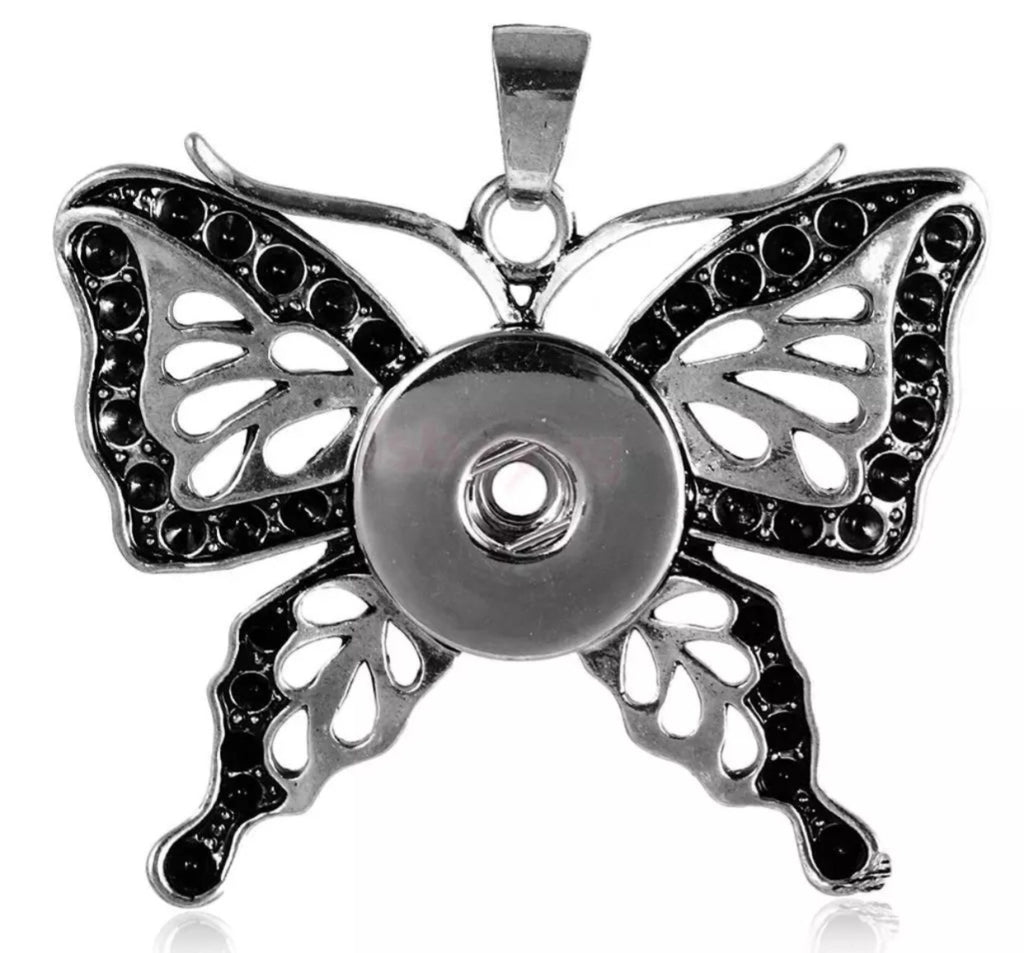 Butterfly Black Accents Snap Charm Pendant