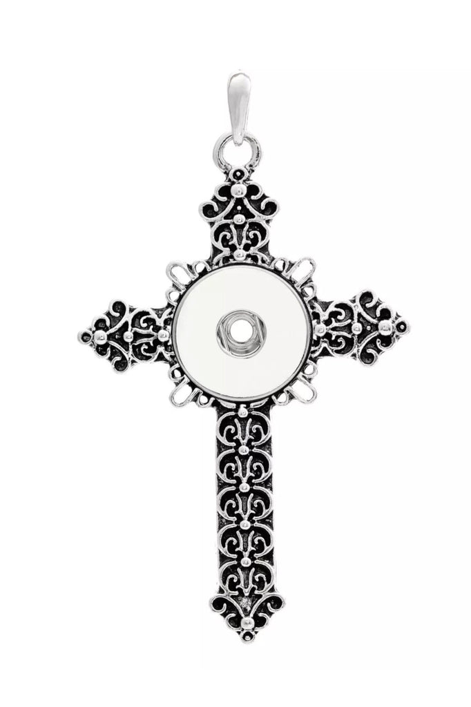 Cross Intricate Snap Charm Pendant