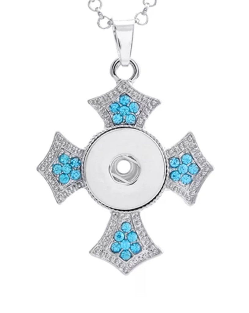 Cross Bling Aqua Pendant