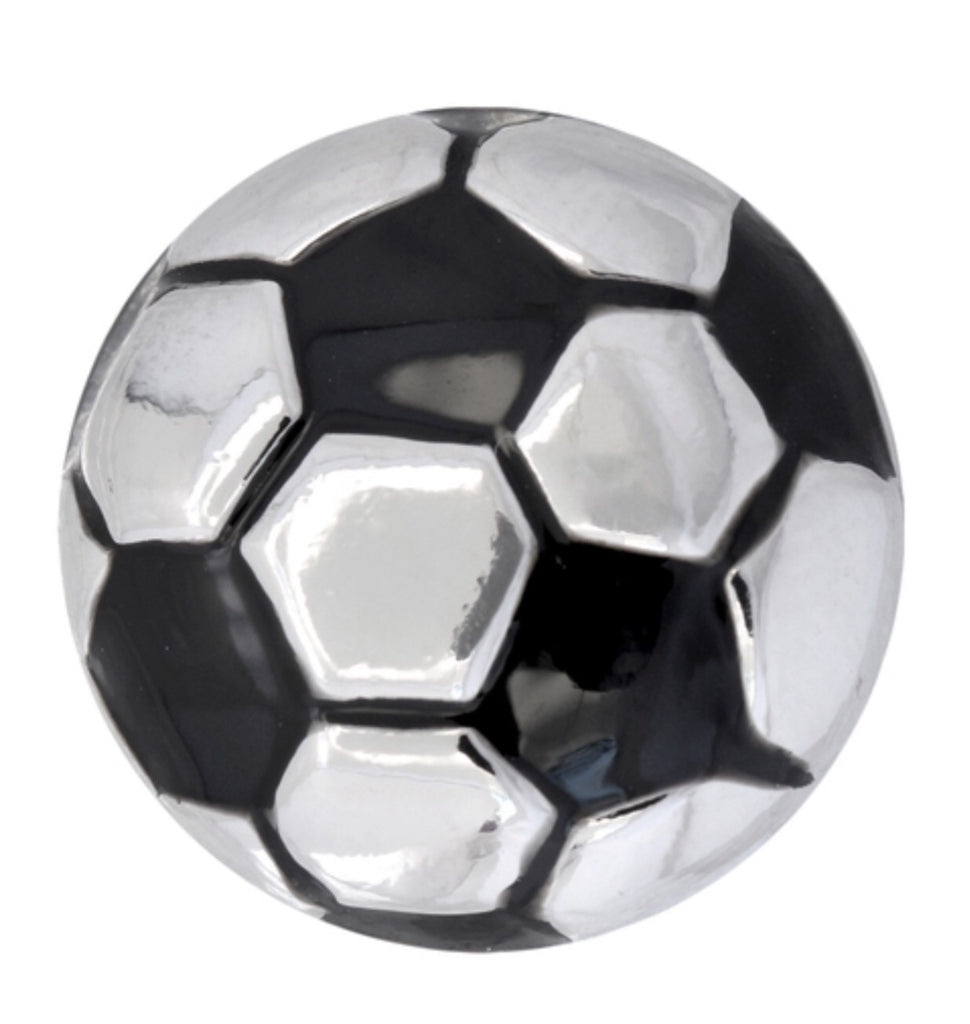 Black & Silver Soccer Ball Snap Charm