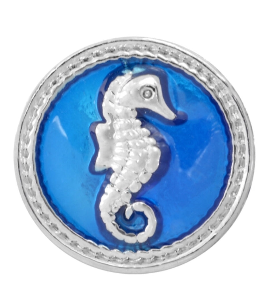 Sea Horse Snap Charm Ocean Blue