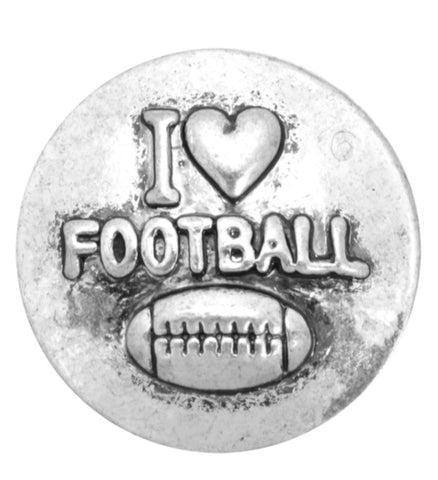 I Heart Football Metal Snap Charm