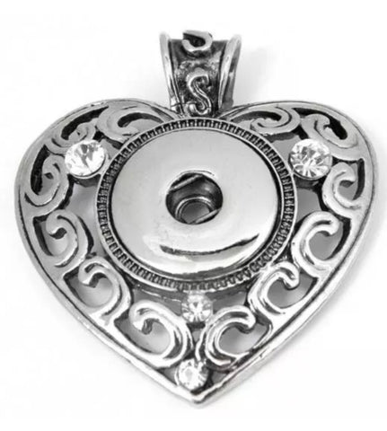Heart Classic with Scrolling Snap Charm Pendant