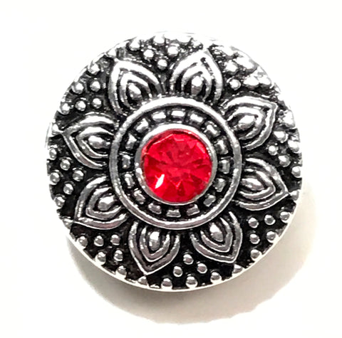 Silver Daisy Red Snap Charm