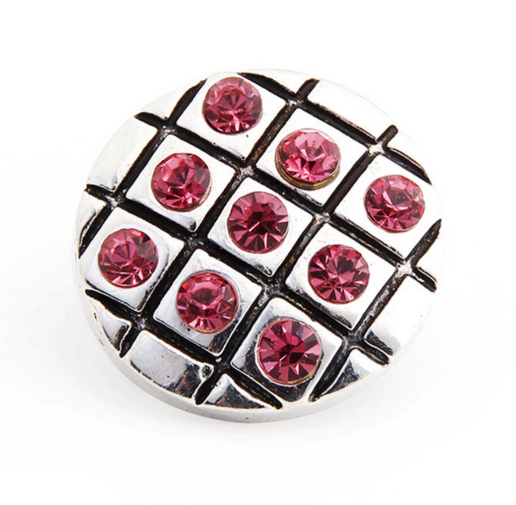 Checker Board Pink Snap Charm