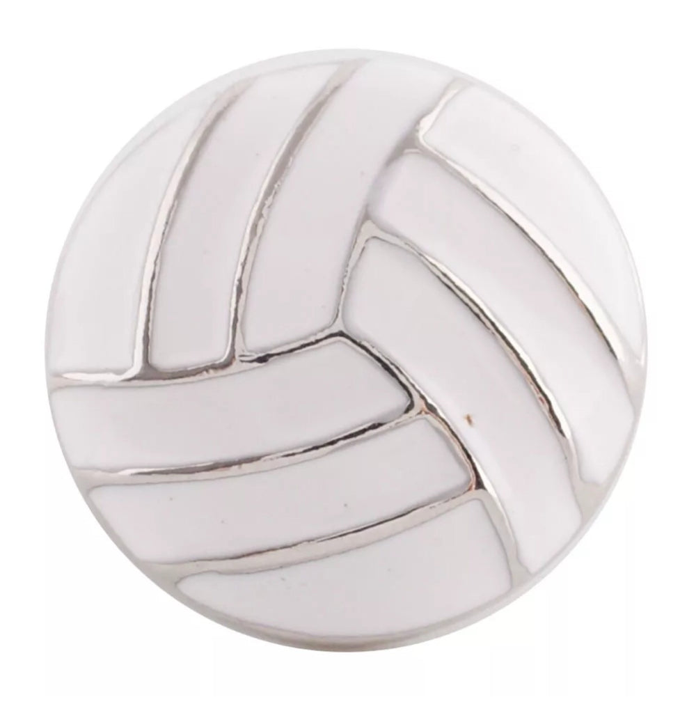 Volleyball White Enamel Snap Charm