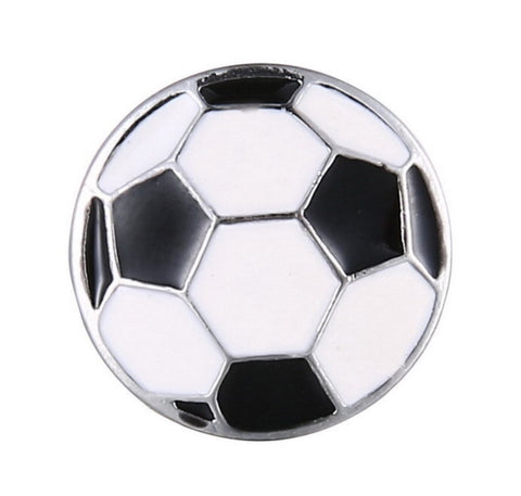 Black & White Enamel Soccer Ball Snap Charm