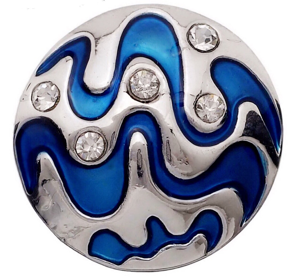Marine Blue Waves Silver Snap Charm