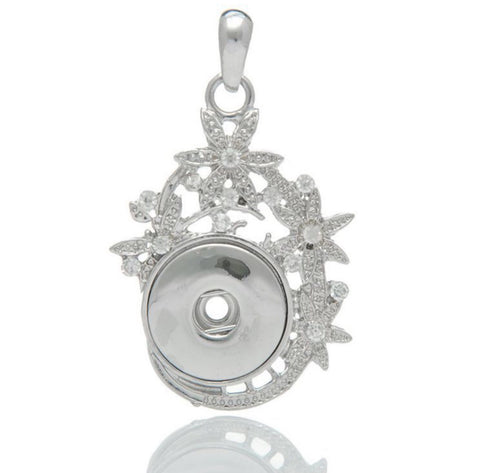 Flowery Silver Snap Charm Pendant