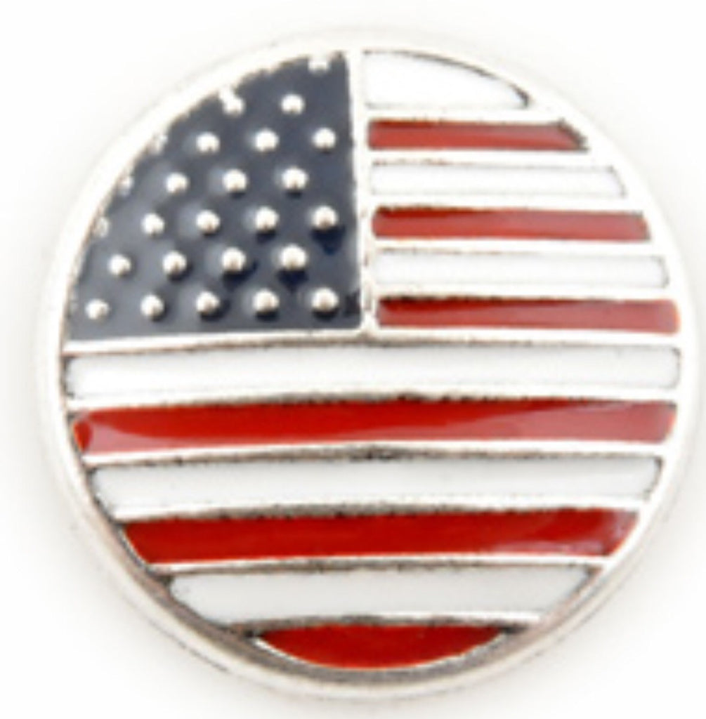 American Flag Snap Charm