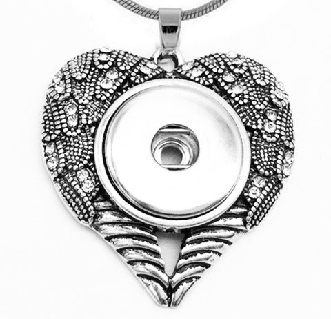 Heart Artistic Wings Snap Charm Pendant