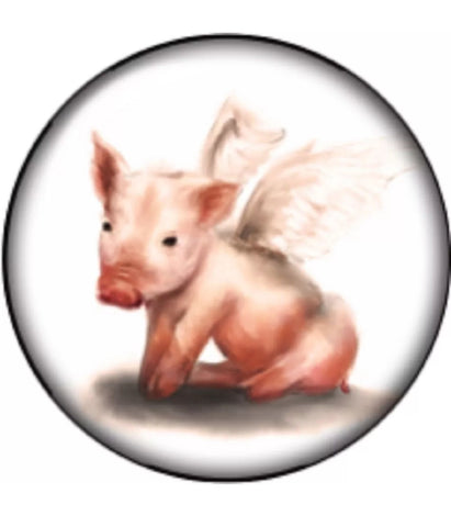 Pigs Fly Glass Snap Charm