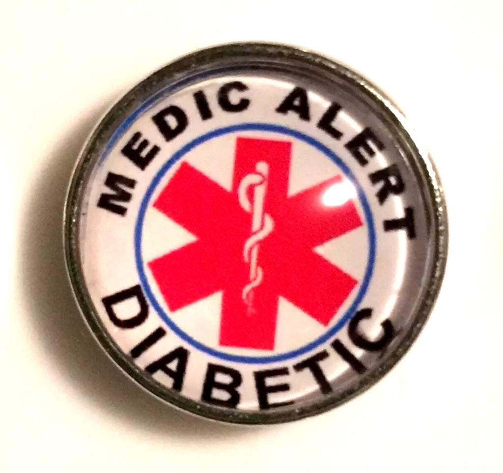 Diabetic Alert Glass Snap Charm