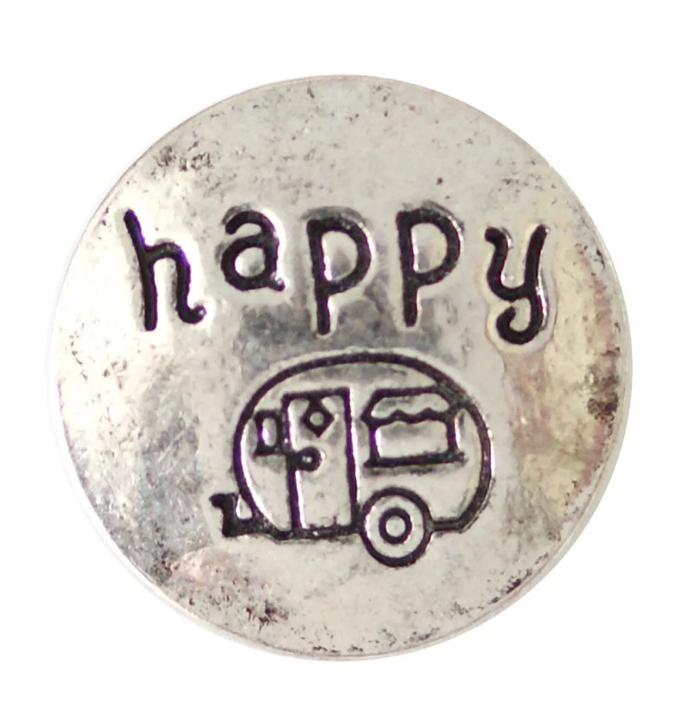 Happy Camper Silver Snap Charm