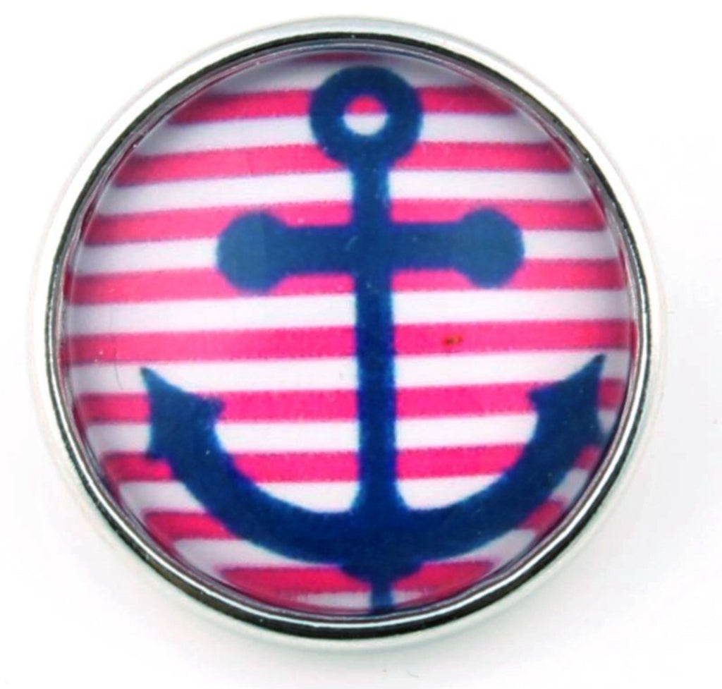 Navy Anchor Striped Glass Snap Charm