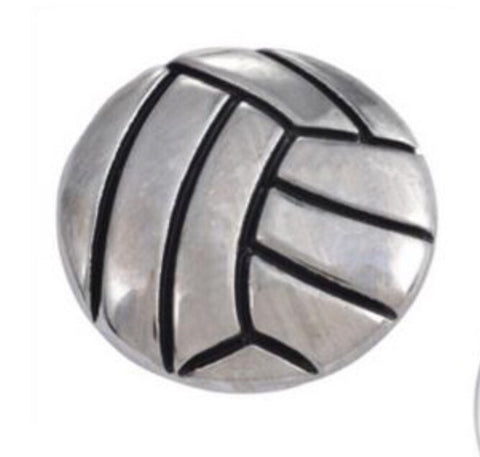 Volleyball Silver Snap Charm