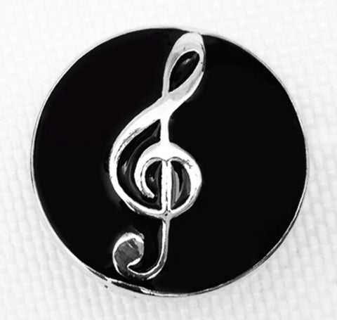 Treble Clef Flirty Black Snap Charm