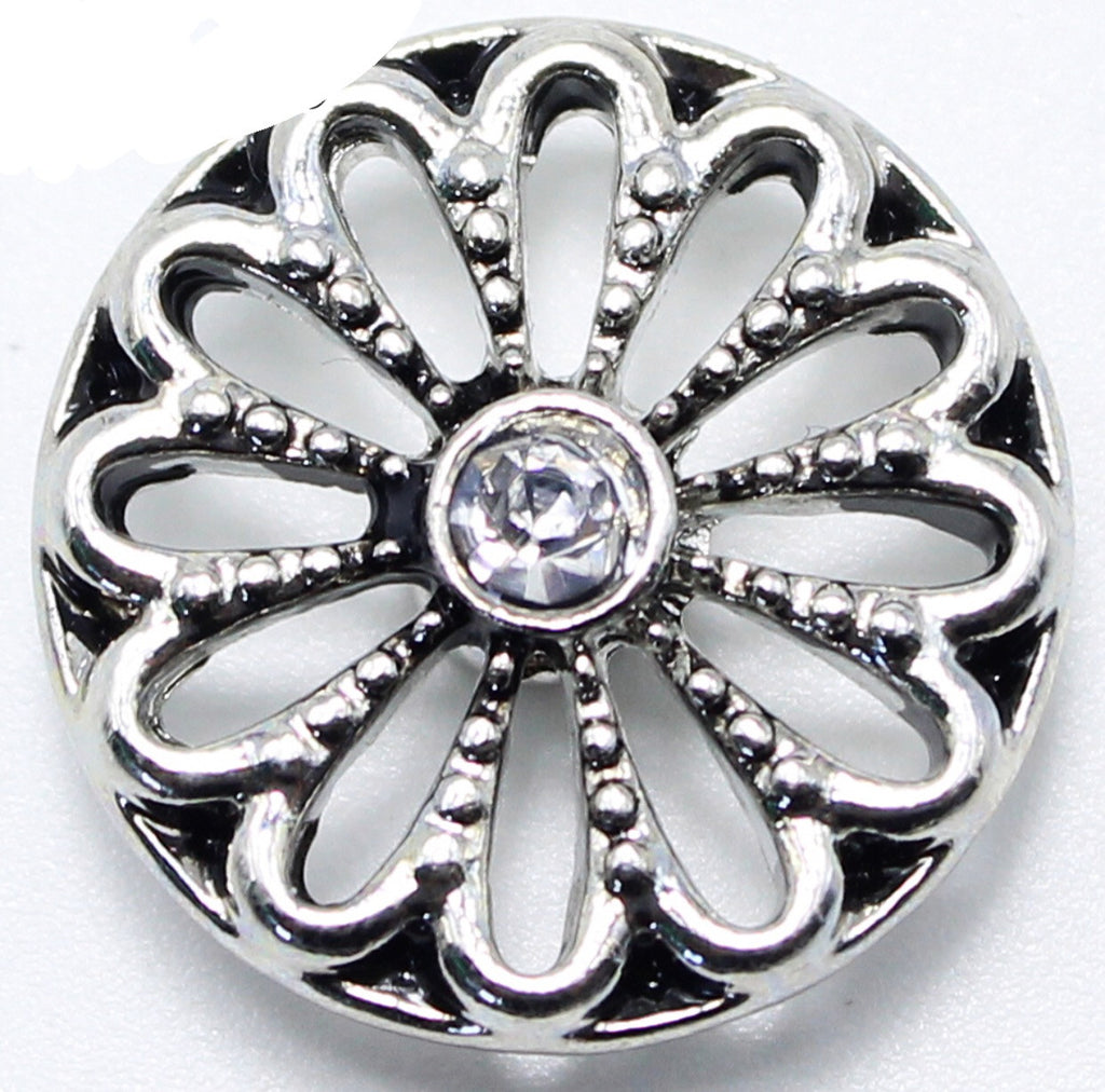 Graceful  Silver Flower Snap Charm