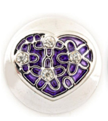 Flowered Heart Snap Charm Purple
