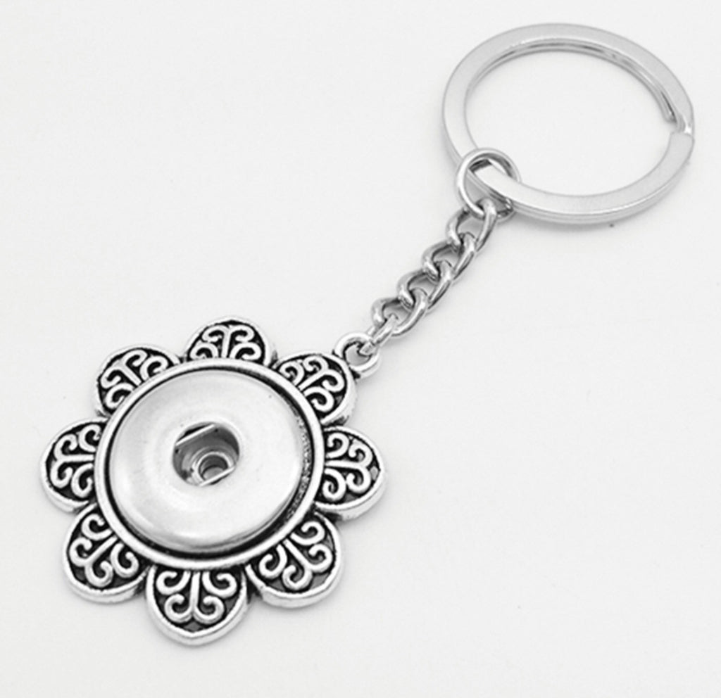 Flower Snap Charm Key Ring