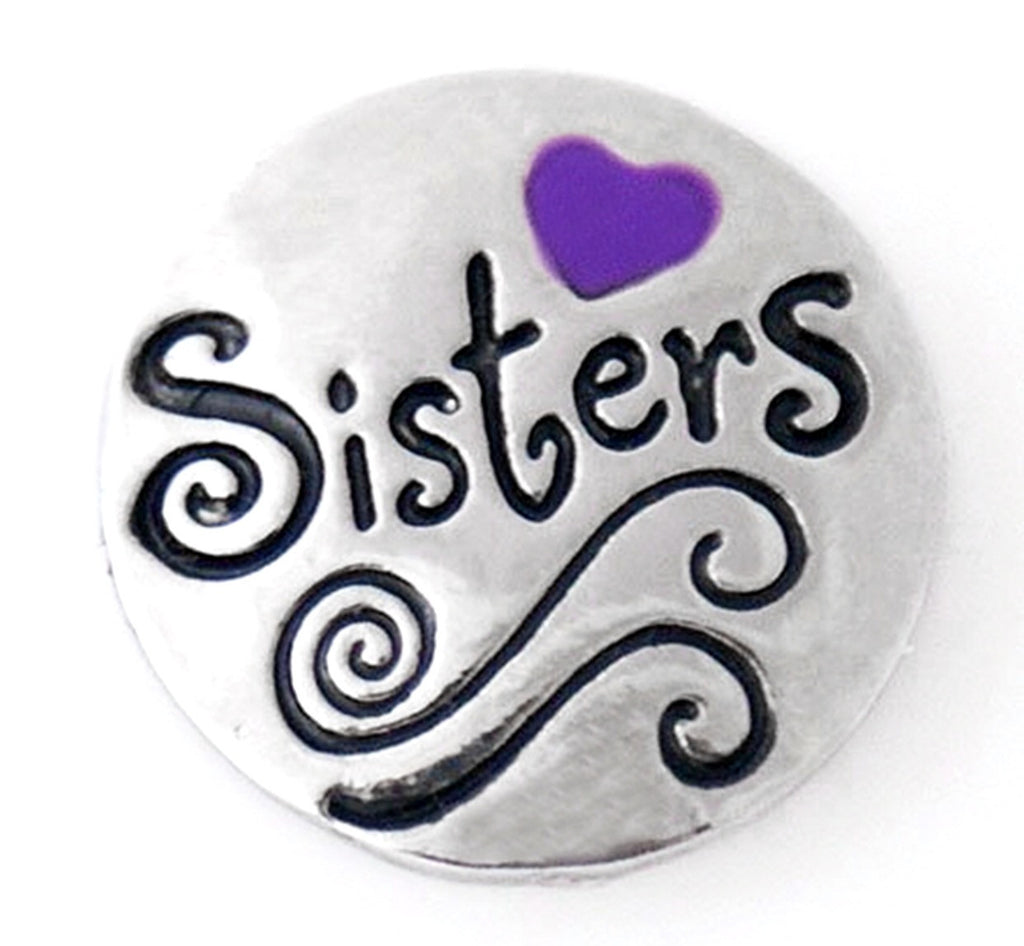 Sister Love Purple Snap Charm