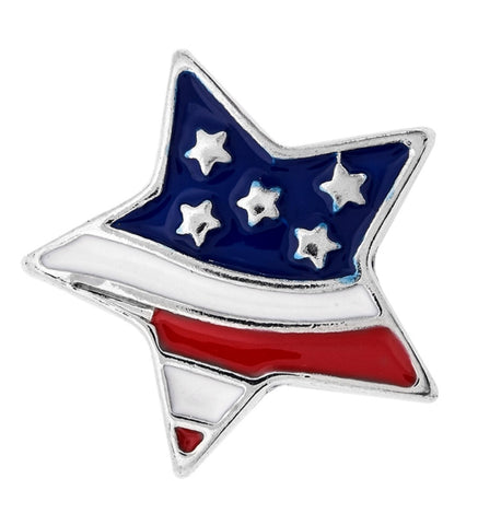 American Flag Star Snap Charm