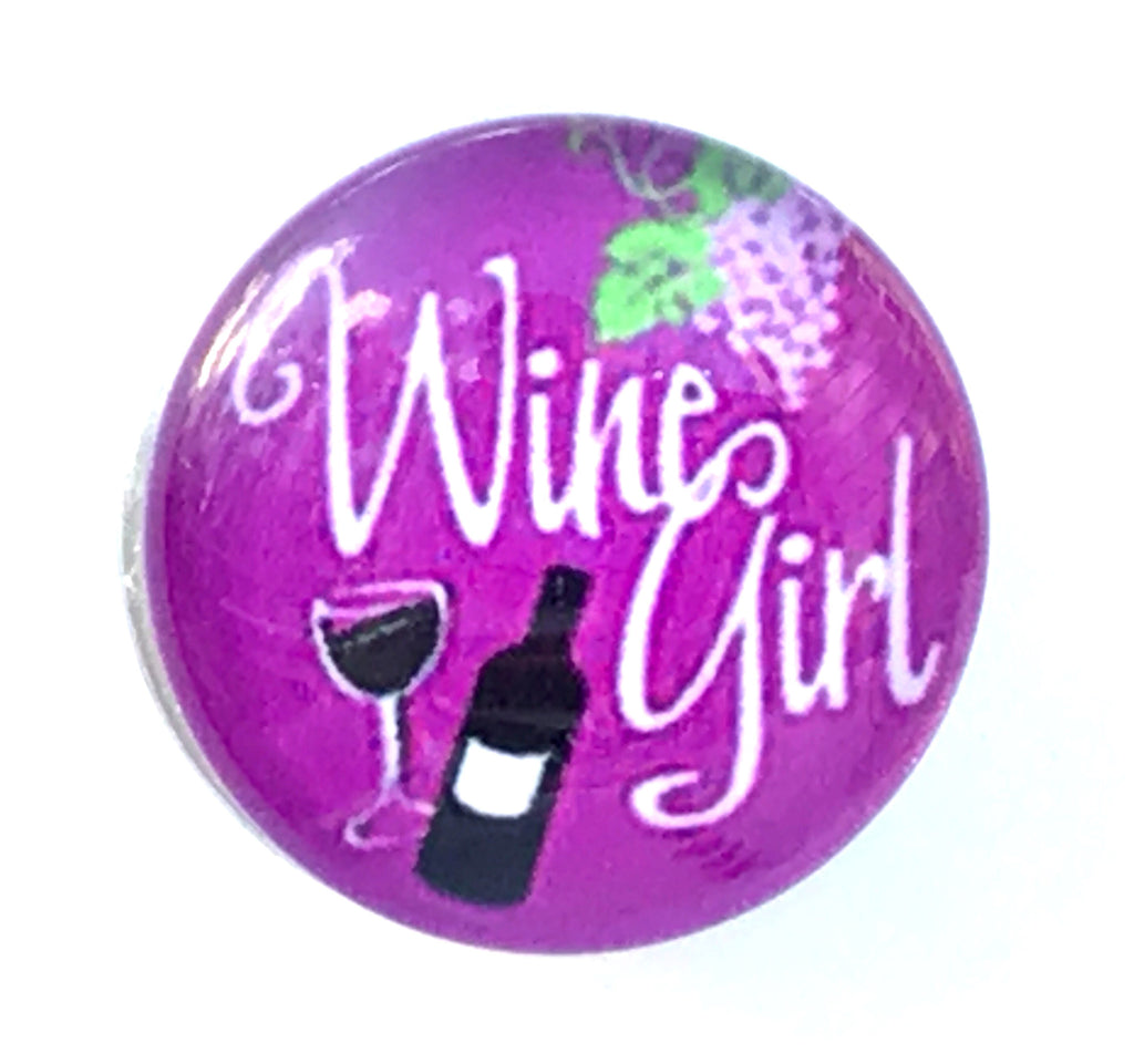 Wine Girl Glass Snap Charm