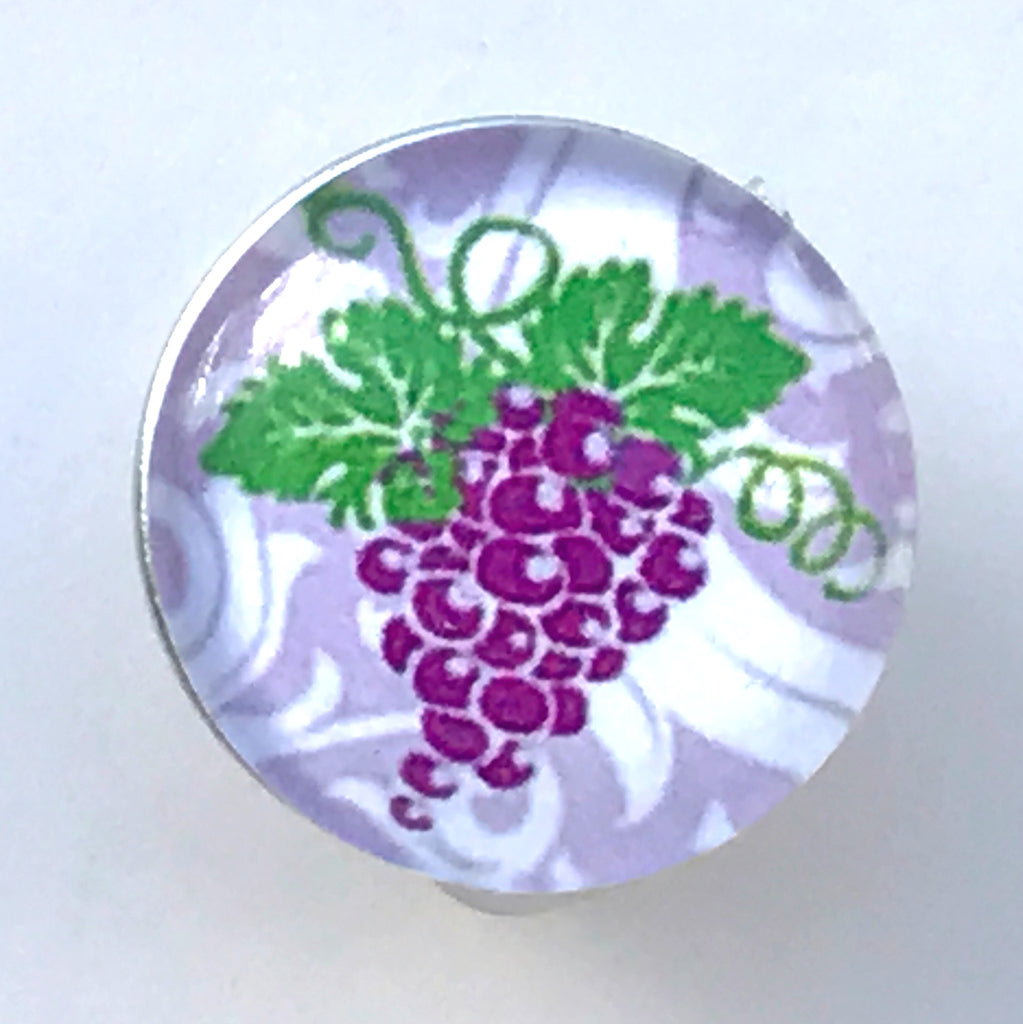 Purple Grapes Glass Snap Charm