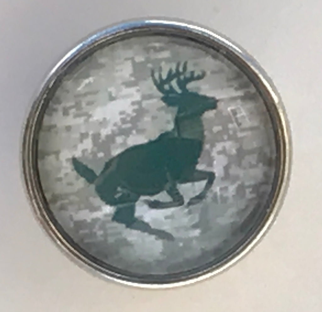 Running Deer Olive Glass Snap Charm