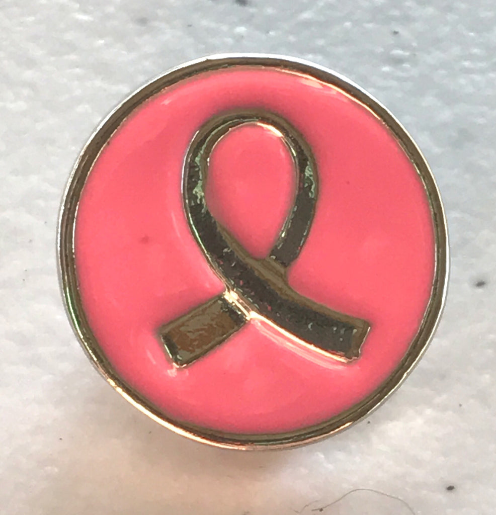 Breast Cancer Ribbon Snap Charm