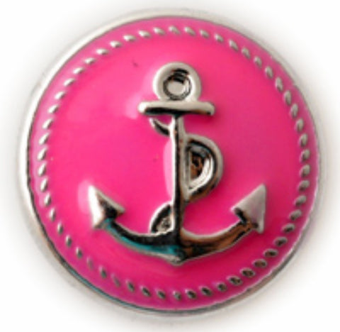 Anchor Hot Pink Snap Charm