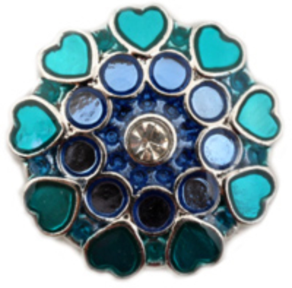 Hearts of Blue Snap Charm
