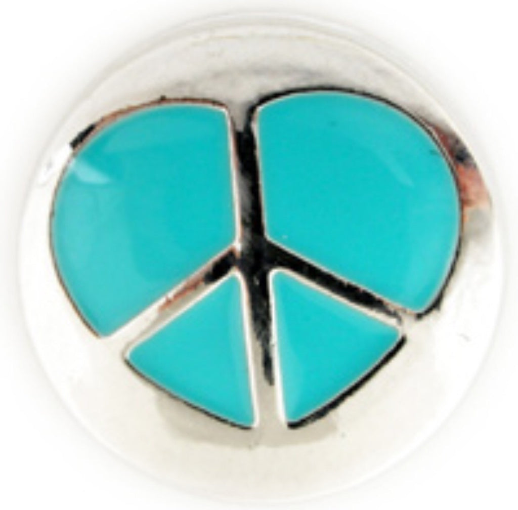Peaceful Heart Teal Snap Charm