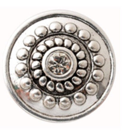 Silver Flower Clear Center Snap Charm
